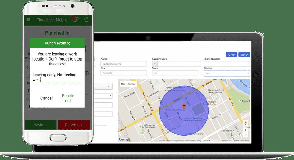 geofence timesheet app