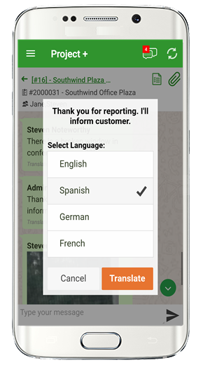 language translation built into instant messaging app.