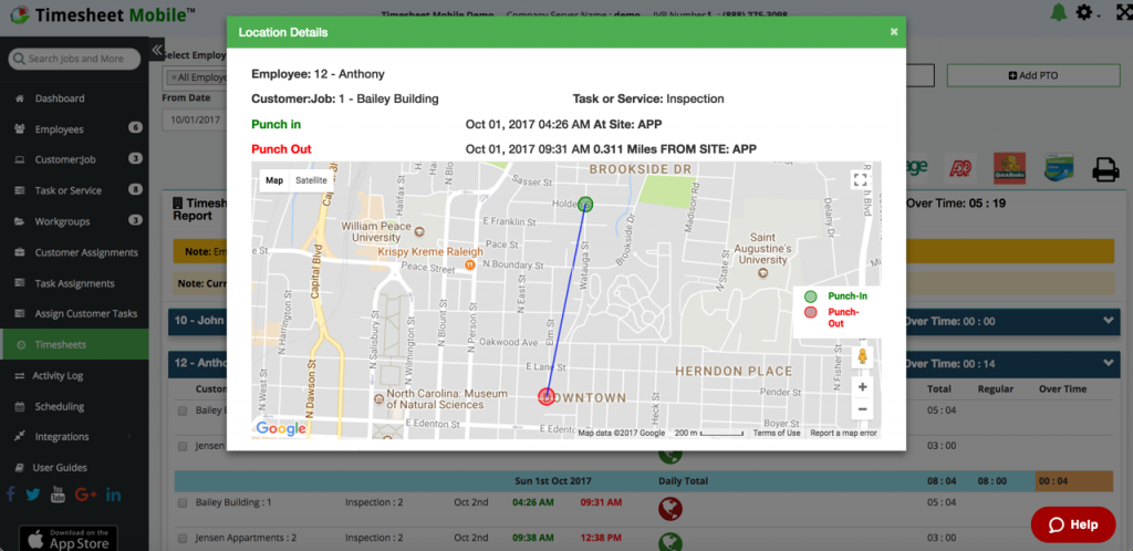 View employee punches outside the geofence